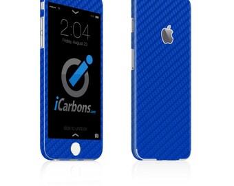 iCarbons Blue Carbon Fiber iPhone 6 / 6 Plus / 6S / 6S Plus Skin Decal FULL COMBO