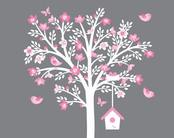 White Cherry Tree Wall Decal Flower Tree Decal Pink White Grey Nursery Decor