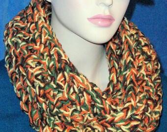 Autumn Scarf, Fall Scarf, Brown Crochet Infinity Scarf, Fall Crochet Infinity Scarf,Handmade Scarf, Fall Colors Scarf,Brown Chunky Scarf