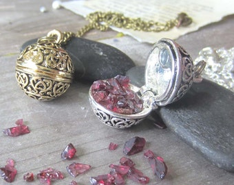 wiccan jewelry Garnet locket prayer box secret compartment wish necklace wicca witchcraft occult witchy jewelry pagan wiccan crystals
