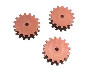 Steampunk Cog Gears Copper Rose Gold Brass 24 Gauge Assemblage Altered Art Lot 19mm- Qty 3 Made in the USA