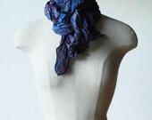Goth scarf, silk scarf, steampunk scarf, scarves, crinkled scarf, purple blue scarf, infinity scarf