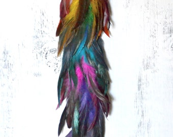 Very Long Rainbow Feather Earring,