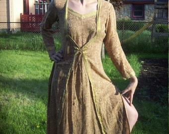 India Cotton Brown and Gold Lurex Paisley Print Corset Tie Dress Festival Dress Hippie dress