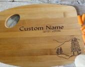 Personalized Wood burned Cutting Board   Pine Tree Design