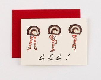 Ho Ho Ho Donuts Christmas Greeting Cards - Set of 5
