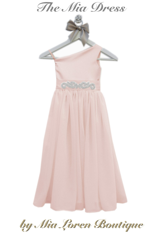 Blush Flower Girl Dress e Shoulder Dress by MiaLorenBoutique