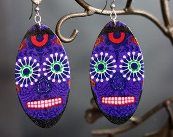 Sugar Skull (Dia De Los muertos) Purple Earrings
