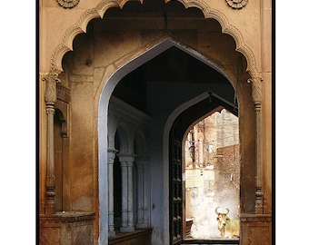 travel art architecture photography archway gate india holy bull temple syamarts photo.dark rich earth tones Available in various sizes.