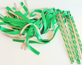 Enchanted Wedding Ribbon Wands 50 Pack IN YOUR COLORS (shown in emerald and silver)