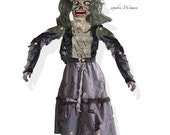 Halloween DIY craft kit articulated woman Zombie Puppet doll premade collage page