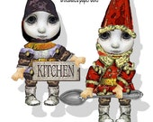printable paper dolls House gnomes, trolls, fairies DIY paper doll Kit articulated craft supply