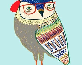 children's art, kids decor, childrens decor, nursery wall art, baby boy. - ''Coolest Owl''.