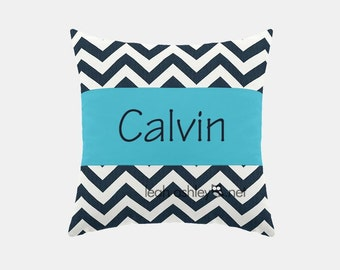 Square Name Pillow Cover - Navy Chevron, Solid Turquoise - Carter
