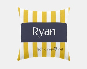 Square Name Pillow Cover - Corn Yellow Stripe, Solid Navy - Hayden