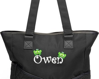 Personalized Diaper Bag Tote Frog Froggies Black