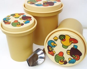 Vintage Canister Set   Nesting Canisters   Rubbermaid Kitchen Canisters   Mushroom Decor   Metal Scoops - Lot of 6