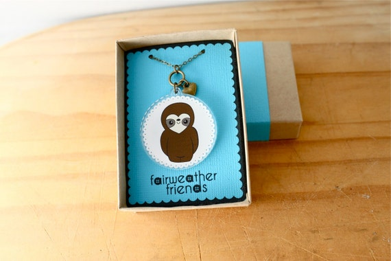 Sloth Necklace. Animal Pendant, Cute Sloth Charm, Acrylic Jewelry, Laser Cut Necklace, Animal Lovers, Sloth Pendant, Animal Jewelry