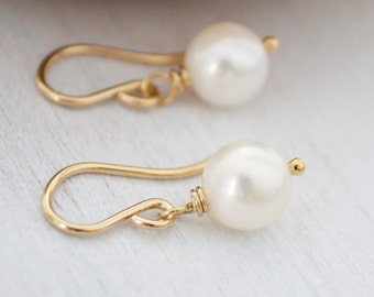 Simple Classic White Freshwater Pearl Earrings, 14K Gold Filled French Hoops, June Birthstone
