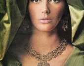 """1966 MONET Costume Jewelry Ad - La Reina Collection """"In the Golden Manner"""" - Master Jeweler - Magazine Ad - Bohemian Wall Art"""