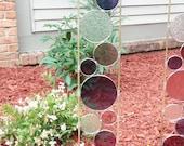 Stained glass garden art stake purple grape rose outdoor yard decoration modern garden art