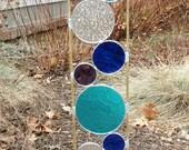Stained glass garden art stake aqua blue purple outdoor yard decoration modern garden art