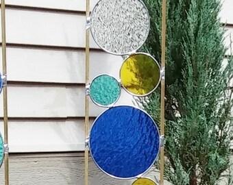 Stained glass garden art stake blue yellow sea green outdoor yard decoration modern garden art