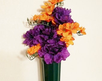Memorial Flowers for Grave Decoration Orange Freesia Purple Marigold Memorial Day Flower Arrangement Cemetery Decoration Grave Marker Flower