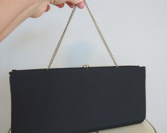 Vintage Clutch Purse, Bags and Purses, Vintage purse, Pouch, Party Bag, Makeup bag, Coin purse, Little Black Evening clutch purse