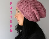 Crochet Pattern, Ribbed Slouchy Beanie Hat, Crochet Ribbed Style Beanie Hat PATTERN, Adult Beanie PDF Instant Downlaod