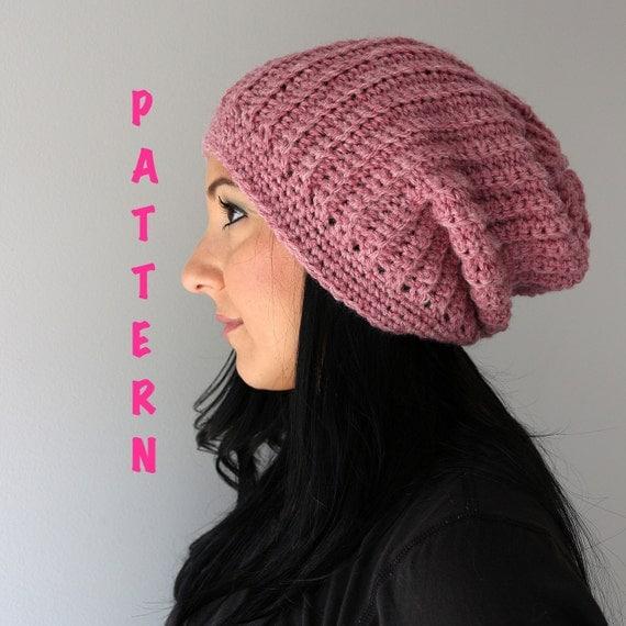 Crochet Beanie Pattern Ribbed : Crochet Pattern Ribbed Slouchy Beanie Hat Crochet Ribbed