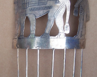 Unusual Archaeological Hair Comb Assyrian Style with Winged Bull and Figure Hair Accessory Hair Jewelry Headdress Headpiece
