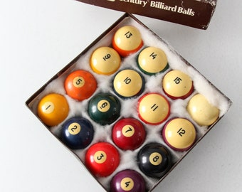 vintage billiard balls, Brunswick Century billiard balls, pool table balls