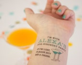 30th Birthday Temporary Tattoos, If Lost, Buy Me a Drink, Dirty Thirty, Dirty 30, Thirtieth Birthday Party, Party Favors, Personalized Tatt