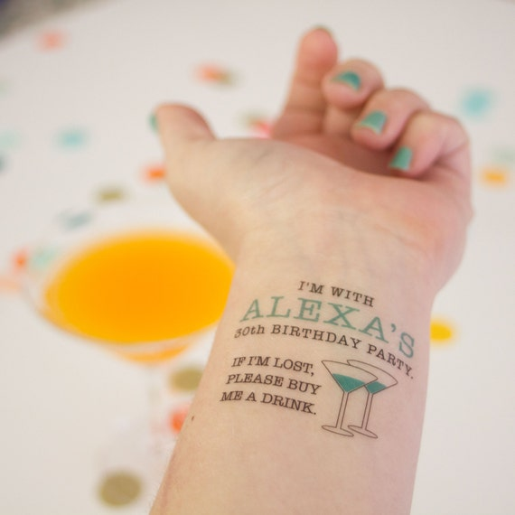 30th birthday temporary tattoos if lost buy me a drink for Vulgar temporary tattoos