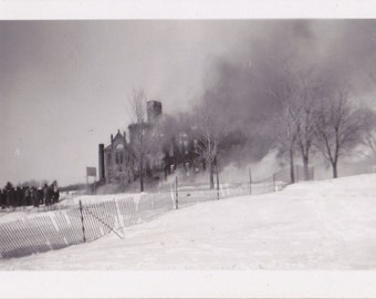 Walker High School Fire- 1940s Vintage Photograph- Washburn, Wisconsin- Disaster Photo- Feb. 5, 1947- Burning Building- Paper Ephemera