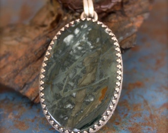 Morrisonite Jasper Stone set in Embossed Sterling Silver