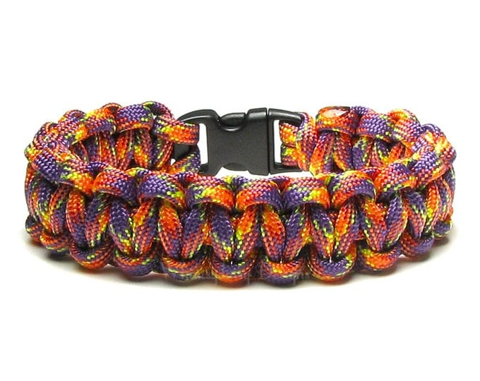Paracord Bracelet Carnival Hot Pink Orange Yellow Purple Survival Accessory Camping Bright Colors Gift For Hikers Teens Friendship Bracelet