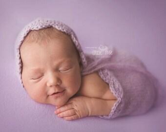 Newborn Bonnet Blanket Set, Photo Prop Newborn Bonnet Blanket Set Newborn Photo Prop Bonnet Baby Prop Bonnet, Made to Order, Newborn Size