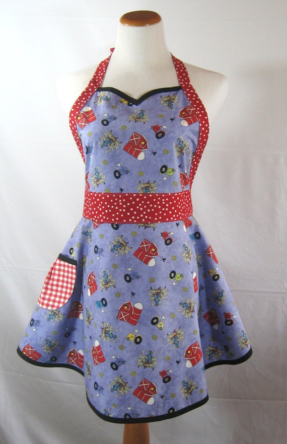 Farm Scene Sweetheart Apron with Red Polka Dots, Red Gingham, Black ...