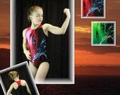 Gymnastics Leotard -- Red Splashes Racerback (Girls' & Women's Sizes)