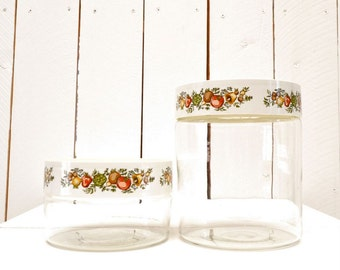 Pyrex Glass Jars 60s Vintage Kitchen Storage Containers Screw Top Lids Spice of Life Design
