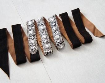 Velvet Crystal Belt - Brown Bridal Crystal Sash - Brown Waist Belt - Beaded Crystal Bridal Sash - Brown Velvet Belt - Flapper Dress Belt