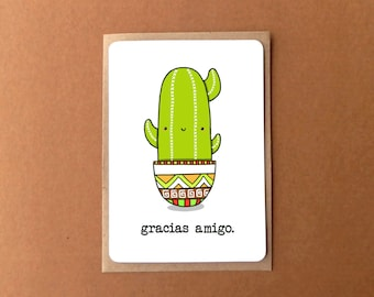 Greeting card - gracias amigo, thank you with a cute cactus