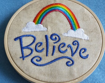 Believe Embroidered Picture