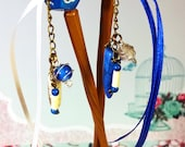 """OOAK """"Lawful Good"""" - Gamer Asian Hair Sticks with Dangles and Dice - Handmade - Bamboo Sticks - 10"""" Long - Blue and White - RPG - LARP"""