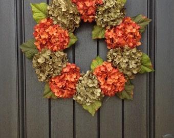Hydrangea Wreath Autumn Summer Fall Wreath Grapevine Door Wreath Orange Green Hydrangea Floral Door Decoration Indoor Outdoor