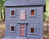 Primitive Lighted Americana Saltbox Folk Art worn white w/ black roof ~ Handpainted Flag ~ Comes w/ light and cord ~  Very unique!