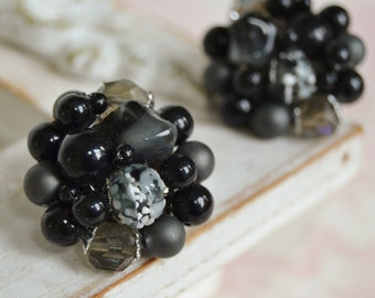 Vintage Clip-On Earrings with Plastic and Glass Black Beads