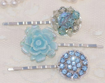 Vintage Sapphire Blue Bridal Bobby Pins,Silver Filigree Hair Pins,Rhinestone,Pearl,Set of Three,Wedding,Bridesmaids Gift,Hair Accessory